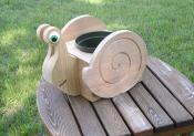 Click to enlarge image Snail unstained - Cedar flower pot planters - Oh my Gosh!!!! They are so darn cute