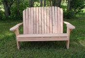 Click to enlarge image Adirondack Love Seat, unstained. The seat measures 44 inches wide. - Redwood Collection - Our redwood collection is elegant, luxurious and simply beautiful.