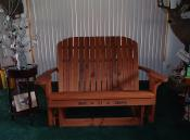 Click to enlarge image 25th anniversary Redwood Love Seat Glider - Personalize your chair -