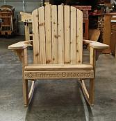 Click to enlarge image Entrust Datacard's company logo is carved on the front slat of this Big Boy rocker. - Personalize your chair -